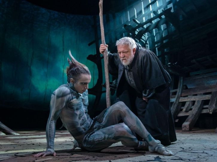 Mark Quartley as Ariel and Simon Russell Beale as Prospero