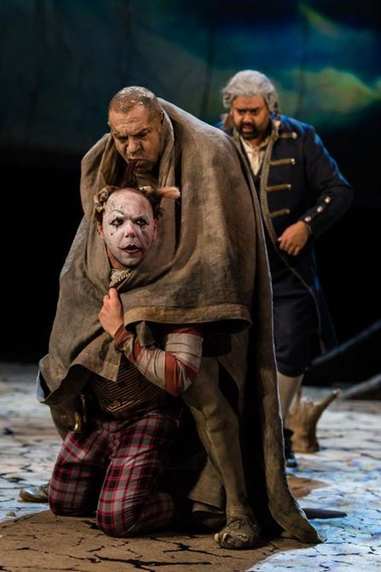 Simon Trinder as Trinculo, Joe Dixon as Caliban and Tony Jayawardena as Stephano