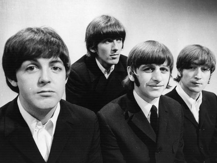 The Beatles photographed on 17 June 1966 at BBC TV studios