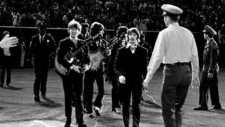The Beatles take the stage at Candlestick Park, San Francisco for the last time ever on 29 August 1966