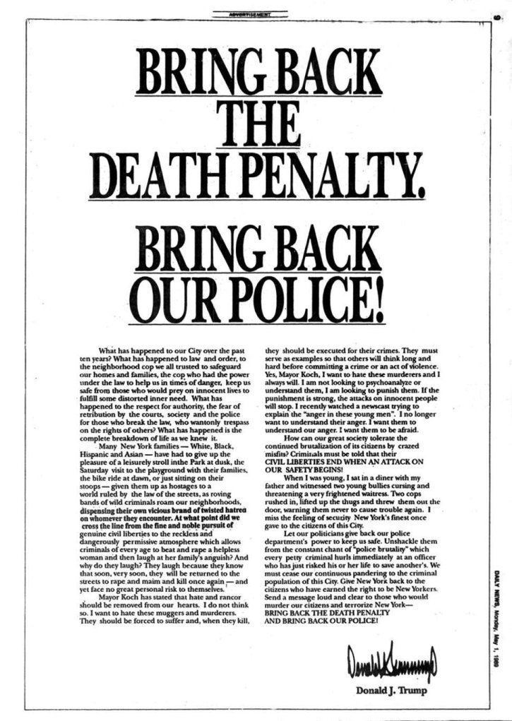 Donald Trump's ad in the New York Daily News in 1989