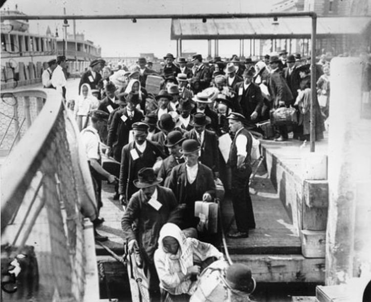 Jews from Eastern Europe arrive at Ellis Island, New York
