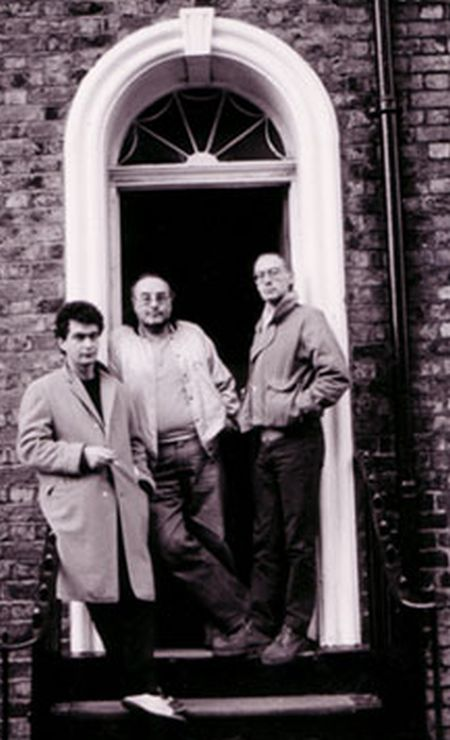 Adrian Henri outside 21 Mount Street with Brian Patten (left) and Roger McGough in 1964