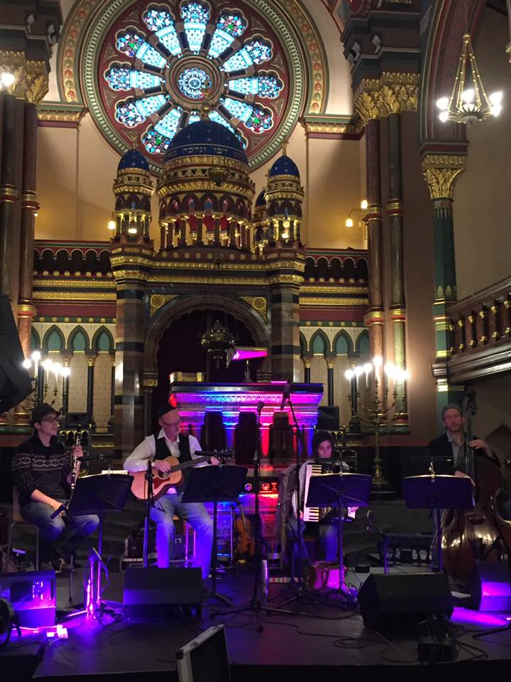 Klezmer-ish during the sound check at Princes Road synagogue (photo via synagogue Facebook page)