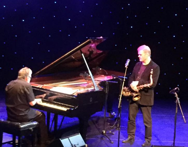 Iain Ballamy and pianist Huw Warren at the Capstone (photo by Penny Lane Jazz ,via Facebook)