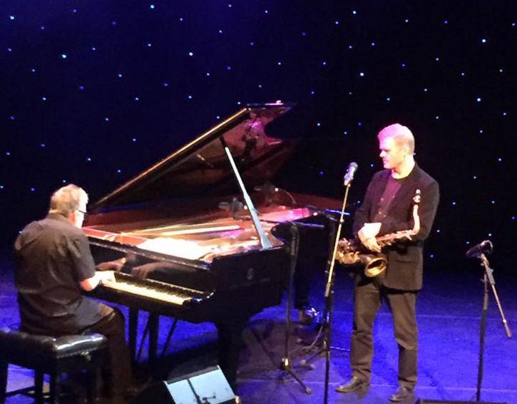 Iain Ballamy and pianist Huw Warren at the Capstone (photo by Penny Lane Jazz ,via Facebook)