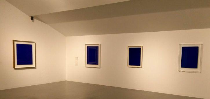 Untitled Blue Monochrome (IKB 89) 1959 (left), Untitled Blue Monochrome (IKB 63) 1959 (centre) and Untitled Blue Monochrome (IKB 100) 1956 (right)