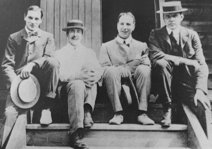 Staff of the Art Sheds in the early 1900s, including, far right: J Herbert MacNair and Professor Charles Reilly.