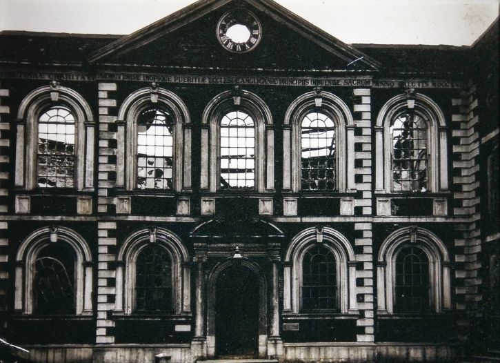 The bomb-damaged Bluecoat after the May Blitz, 1941