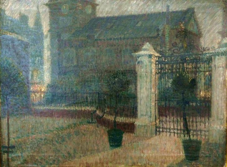 Edward Carter Preston, Untitled (St Peter's Church through the Bluecoat gates), 1909