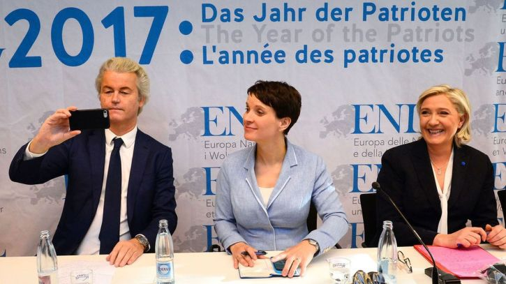Geert Wilders, Dutch Party for Freedom, Frauke Petry of the Alternative for Germany party, and Marine Le Pen, leader of France's Front National