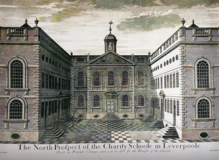 Engraving of the Blue Coat School, 1718