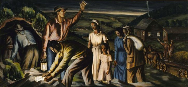James Michael Newell, Underground Railroad (mural study for Dolgeville, New York Post Office, 1940