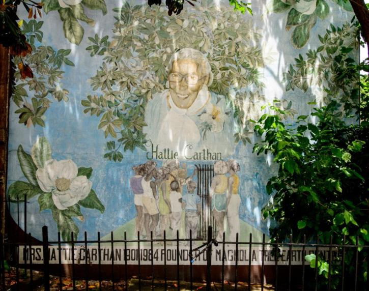 Mural depicting environmental activist Hattie Carthan, outside the Magnolia Tree Earth Centre in New York