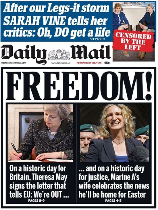 Yesterday's Daily Mail front page