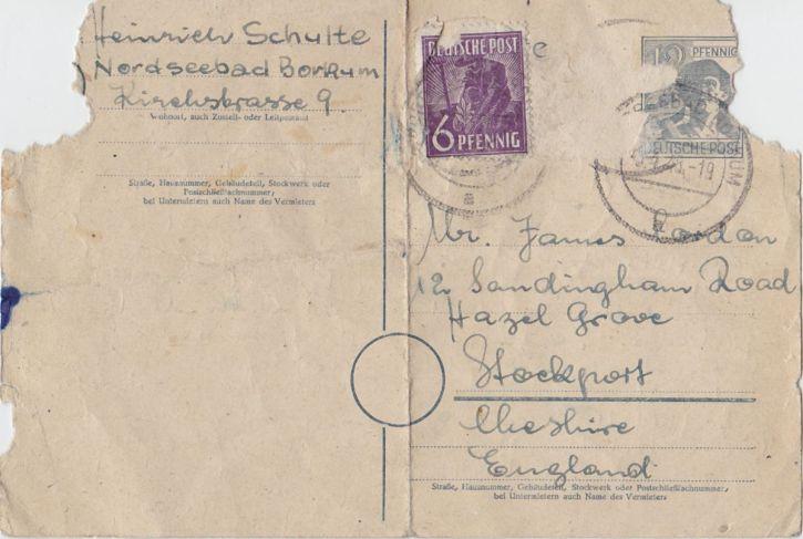 Heimweh Schulte's postcard from Borkum