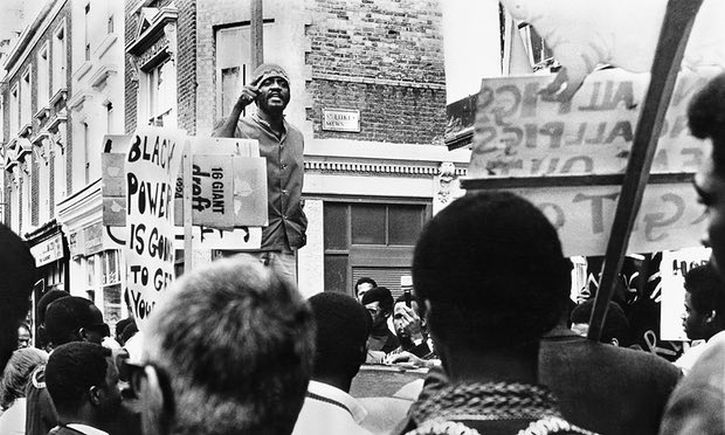 Darcus Howe addresses a rally for the Mangrove Nine in Notting Hill in 1971