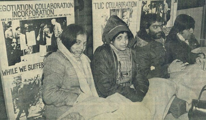 Grunwick strikers including Jayabe Desai stage a hunger strike on the steps of the Congress House