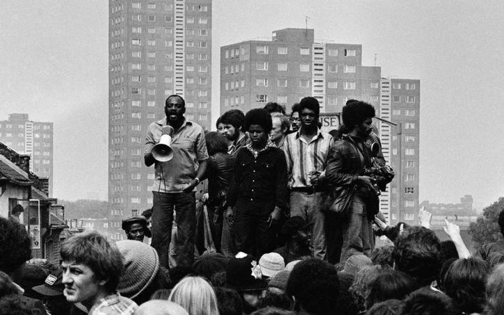 Howe (left) rallies anti-fascists, in Lewisham, 1977
