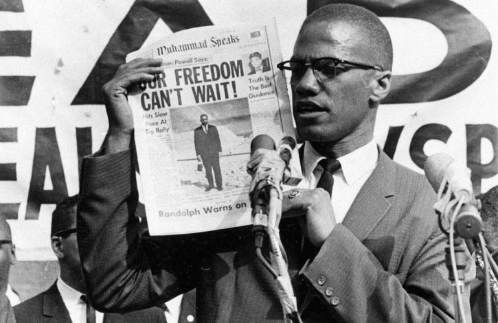Malcolm X during a Black Muslim rally in New York in 1963