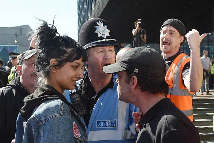 Saffiyah Khan confronts an English Defence League protester in Birmingham on the day we saw the Baldwin film