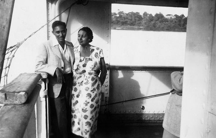 Stuart Hall with his mother, Jessie, on the boat to England from Jamaica, 1951